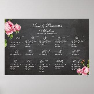 PixDezines chalkboard+vintage roses/seating chart