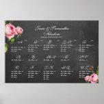 PixDezines chalkboard+vintage roses/seating chart Poster