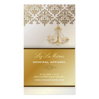 PixDezines Chandelier + Damask/pearly white Business Cards