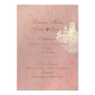 PixDezines Chandelier + Damask/pink champagne Card