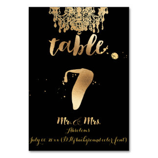PixDezines Chandelier/Faux Gold/table 7 Table Cards