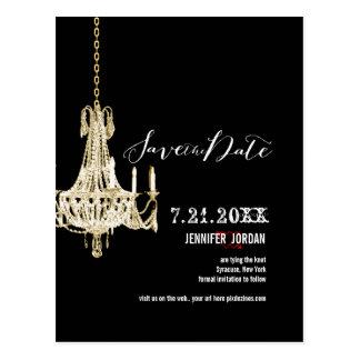PixDezines chandeliers/gold trim/save the date Postcard