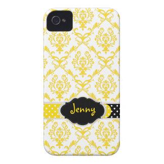 PixDezines Chantal Damask/DIY color, black+yellow iPhone 4 Cover