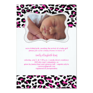 PixDezines cheetah/birth announcement/shower 5x7 Paper Invitation Card