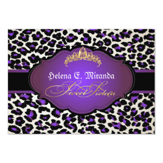 PixDezines cheetah+tiara/sweet sixteen Card