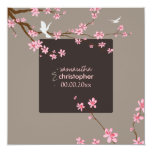 PixDezines Cherry blossom/diy background color 5.25x5.25 Square Paper Invitation Card