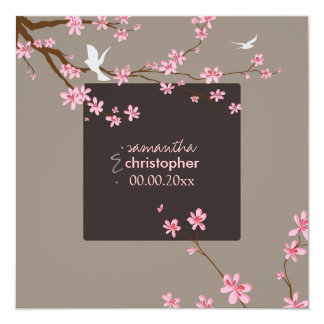 PixDezines Cherry blossom/diy background color Custom Invites