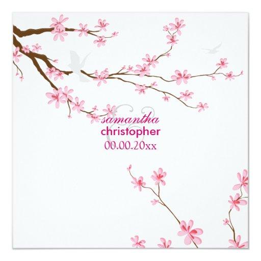 PixDezines Cherry blossom/diy background 5.25x5.25 Square Paper Invitation Card