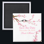 """PixDezines Cherry Blossom love birds Magnet<br><div class=""""desc"""">PixDezines save the date for weddings with overhanging pink cherry blossoms (sakura) and love birds.  Images are adjustable.. rotate,  enlarge,  etc..  Monogram can be added.    Copyright &#169; 2012 PixDezines.com™ and PixDezines™ on zazzle.</div>"""