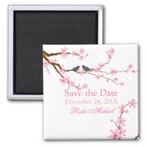 PixDezines Cherry Blossom love birds Magnet