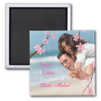 PixDezines Cherry Blossom, save the date photo 2 Inch Square Magnet