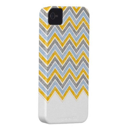 PixDezines Chevron Blue+Yellow Case-Mate iPhone 4 Case