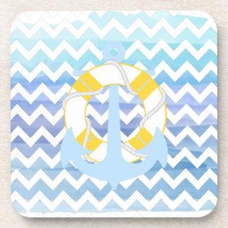 PixDezines chevron/nautical/watercolor Coaster