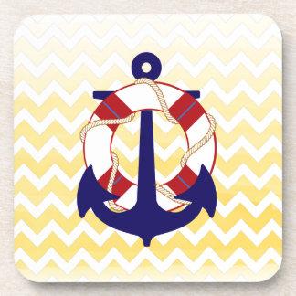 PixDezines chevron nautical watercolor Coaster