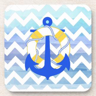 PixDezines chevron nautical watercolor Drink Coaster