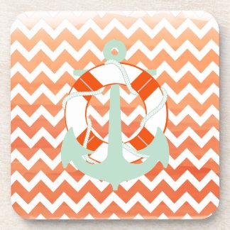 PixDezines chevron nautical watercolor Beverage Coaster