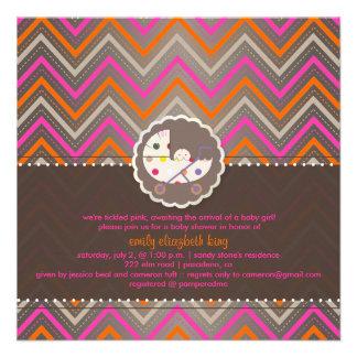 PixDezines chevron/pink+orange/baby shower/DIY Personalized Invitation