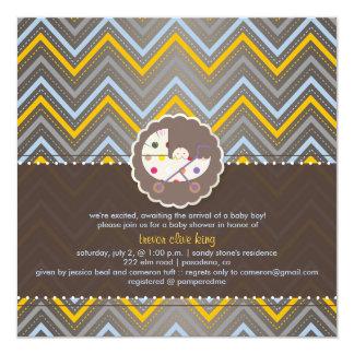 PixDezines chevron/yellow+blue/baby shower/DIY 5.25x5.25 Square Paper Invitation Card