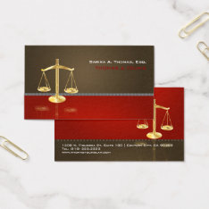 Pixdezines Chic Attorney/brown+red Business Card at Zazzle