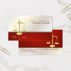 Pixdezines Chic Attorney/white+red Business Card at Zazzle