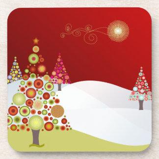 PixDezines christmas trees Drink Coaster