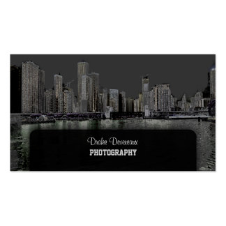 PixDezines City Scape, Lakeshore, Chicago/grey Double-Sided Standard Business Cards (Pack Of 100)