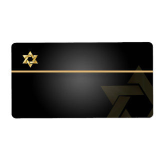 PixDezines Classic Bar Mitzvah/black+gold/Shipping Label