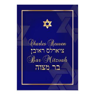 PixDezines Classic Bar Mitzvah/diy blue/gold Card