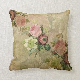 PixDezines collage vintage cottage roses, pink Pillow