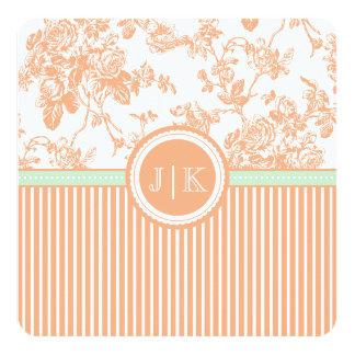 PixDezines coral orange/toile/roses Custom Invitation