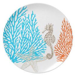 PixDezines coral+seahorse/DIY background color! Melamine Plate