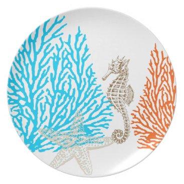 Beach Themed PixDezines coral seahorse/DIY background color! Melamine Plate