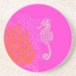 PixDezines Coral+Seahorse/natural+hot pink Drink Coaster