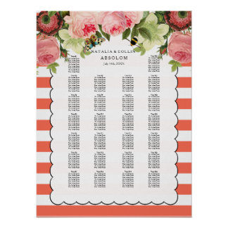 PixDezines coral stripes+roses/seating chart Poster