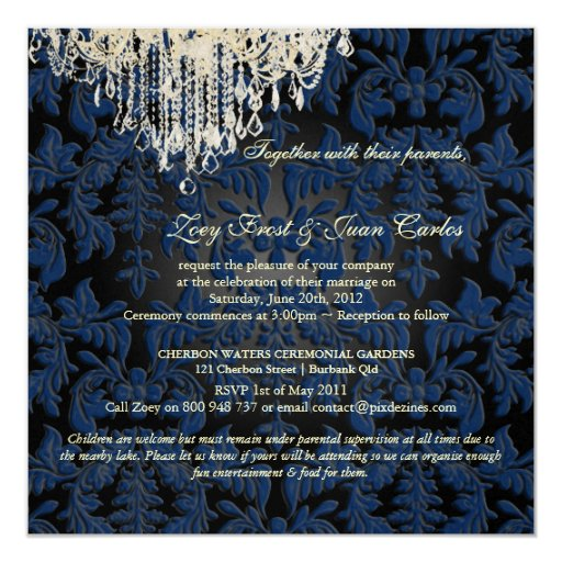 PixDezines Crystal Chandelier + Baroque Damask Invitation