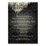 PixDezines Crystal Chandelier+baroque damask Personalized Announcement