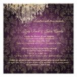 PixDezines Crystal Chandelier + Baroque Damask Custom Invitations