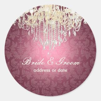 PixDezines crystal chandelier/baroque damask Round Stickers