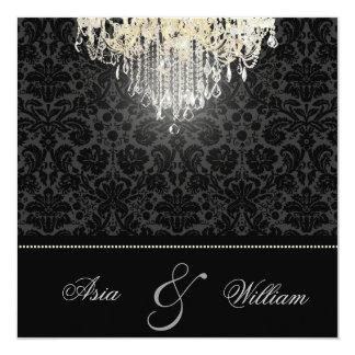 PixDezines crystal chandelier/desiree damask 5.25x5.25 Square Paper Invitation Card