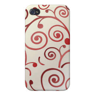 PixDezines Cupcake Swirls, red+faux pearl Cover For iPhone 4