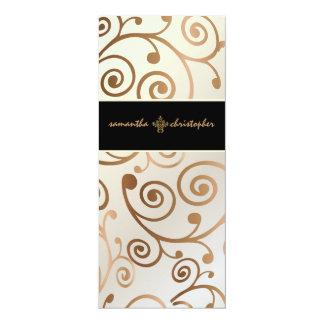 PixDezines Cupcakes Swirls / copper / gold 4x9.25 Paper Invitation Card
