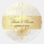 PixDezines Cupcakes Swirls+Faux Gold Chandelier Round Sticker