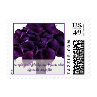PixDezines dark purple calla lilies bouquet Postage Stamps