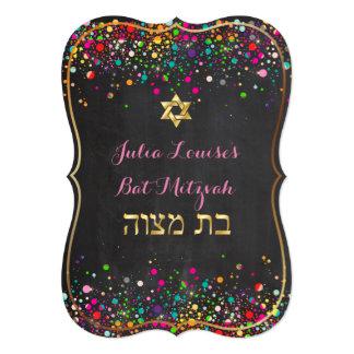 PixDezines dazzled chalkboard/rainbow/bat mitzvah 5x7 Paper Invitation Card