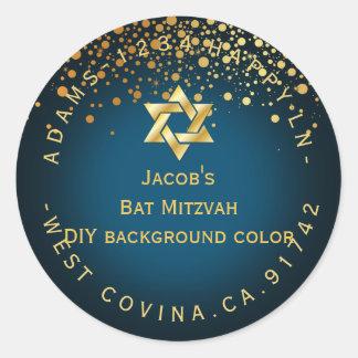 PixDezines dazzled/faux gold/mitzvah/DIY color Classic Round Sticker