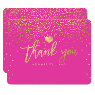 PixDezines Dazzled Faux Gold Thank You Card