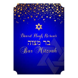 PixDezines dazzled gold/Bar Mitzvah/royal blue 5x7 Paper Invitation Card
