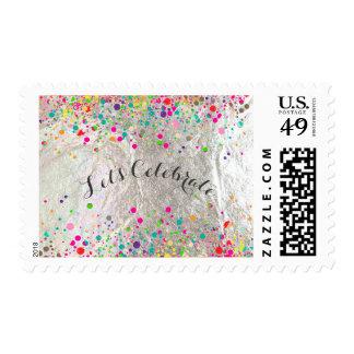 PixDezines dazzled/rainbow/faux silver foil Postage