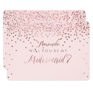 PixDezines Dazzled Rose Gold Will You.. Bridesmaid Card