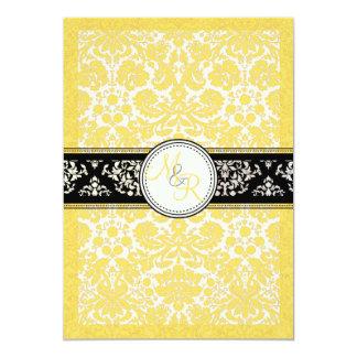 PixDezines desiree damask/buttercup yellow 5x7 Paper Invitation Card